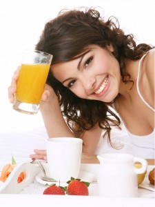 woman orange glass